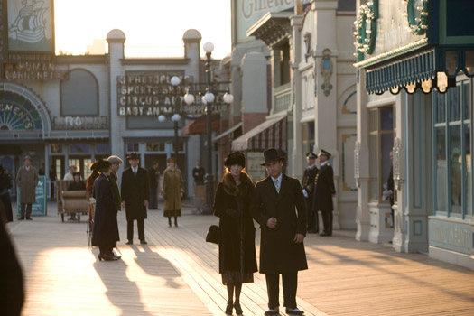 Nearly 300 feet of period boardwalk was built from scratch in Brooklyn, where the characters can walk from natural exterior daylight into interior sets of storefronts and casinos. (Photo credit: Craig Blankenhorn,  © HBO)