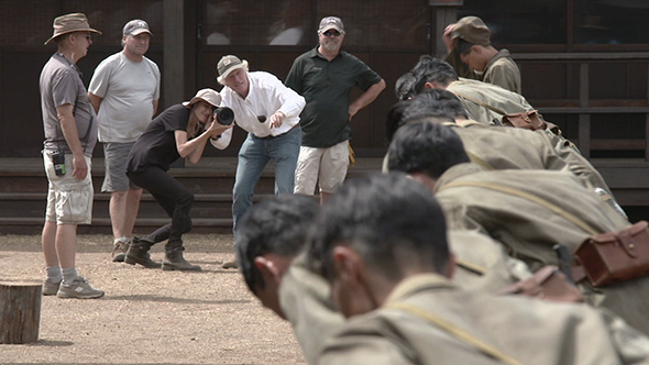 Roger Deakins with Angelina Jolie on the set of Unbroken