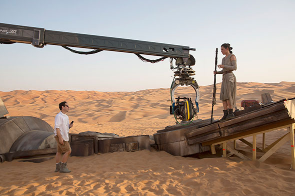 Director J.J. Abrams and actress Daisy Ridley (Rey) in the desert