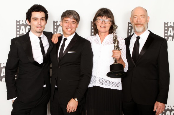 Director and presenter Damien Chazelle, Tom Cross, ACE, best edited dramatic feature film Eddie Award winner Margaret Sixel, and actor J.K. Simmons.