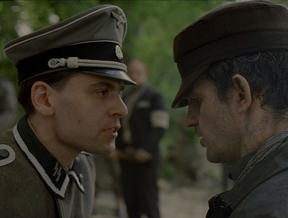 Left to right: Christian Harting as Oberscharführer Busch and Géza Röhrig as Saul Courtesy of Sony Pictures Classics