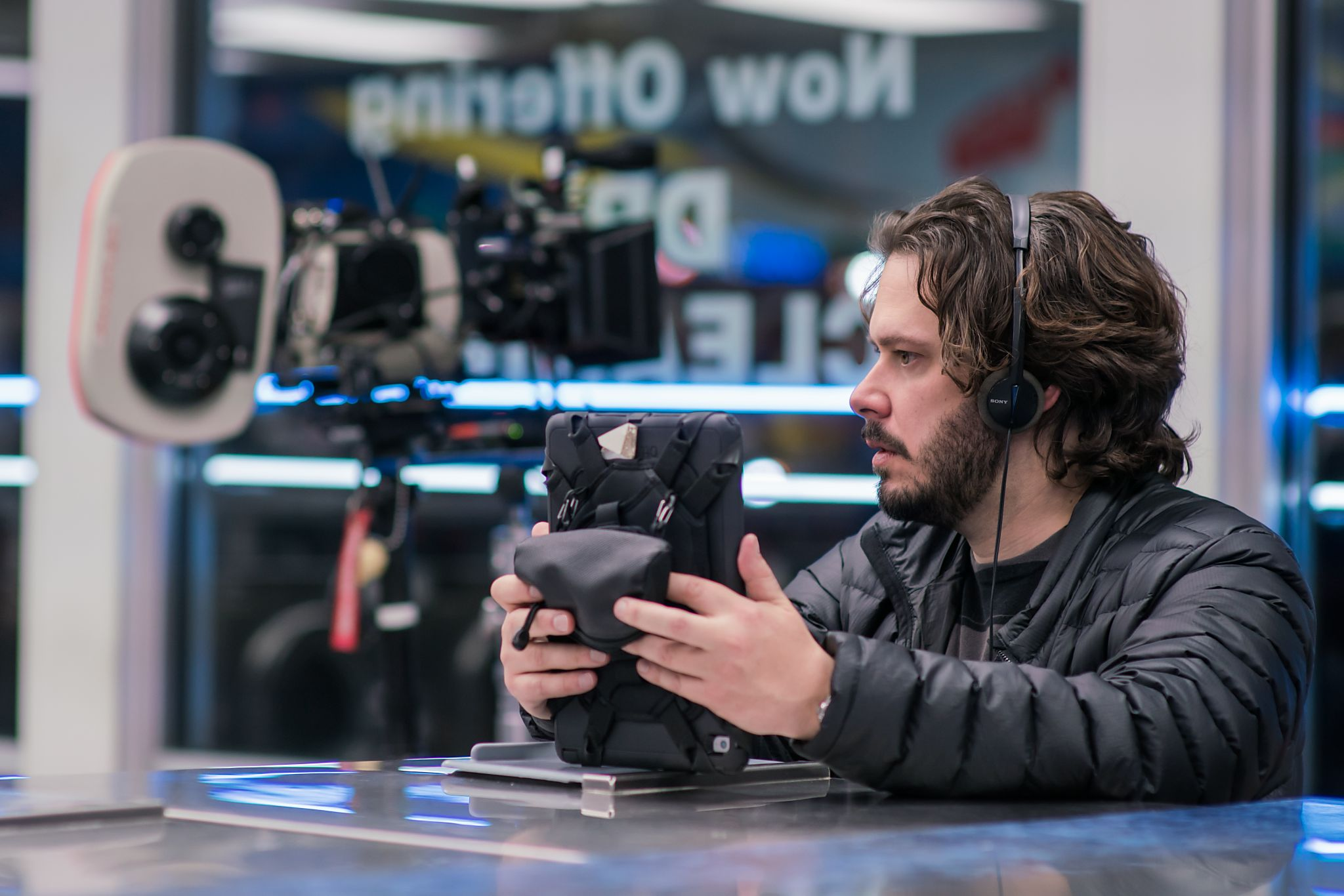 Director Edgar Wright on set.