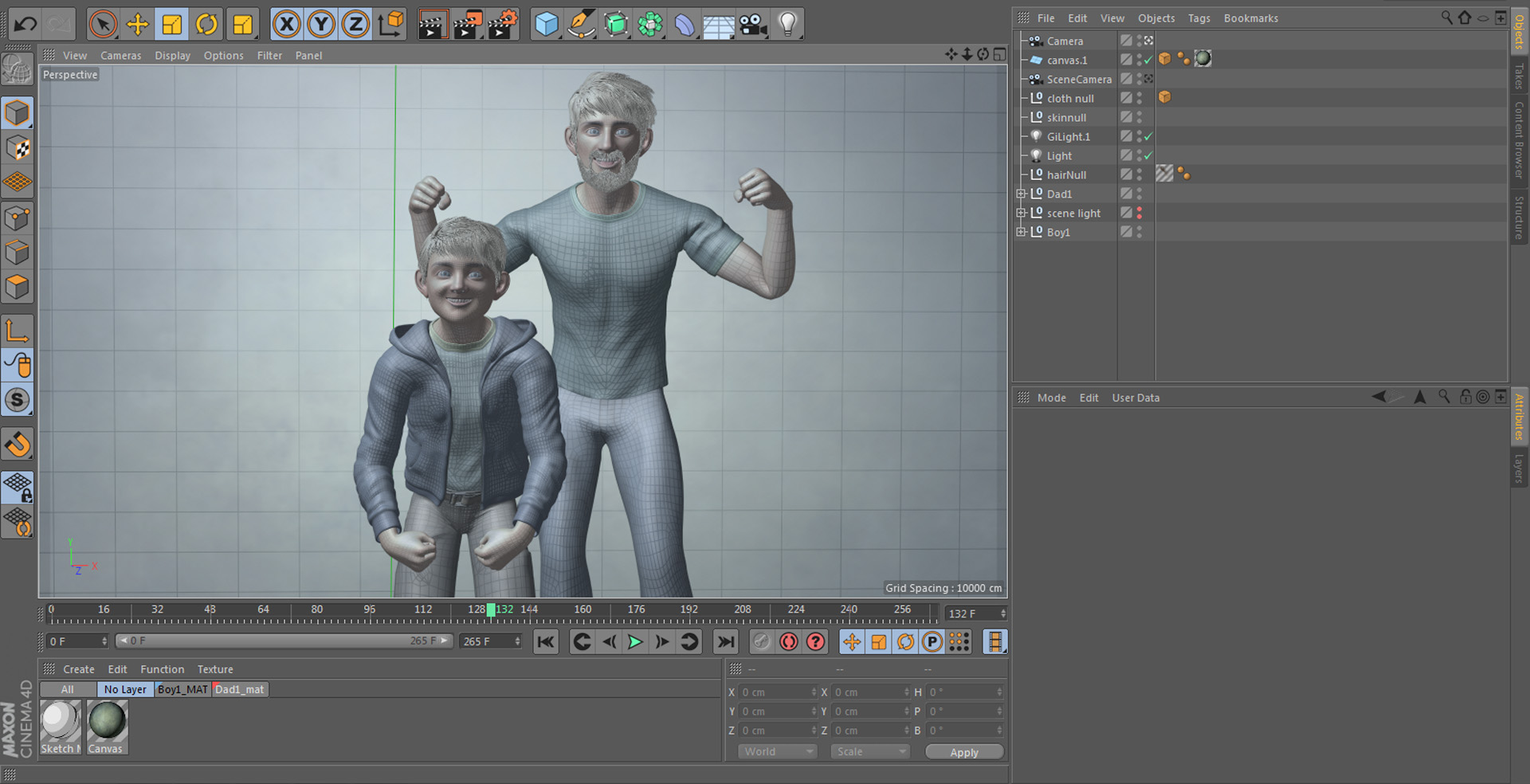 Hair was generated as meshes in order to render C4D hair with a Sketch & Toon look properly.