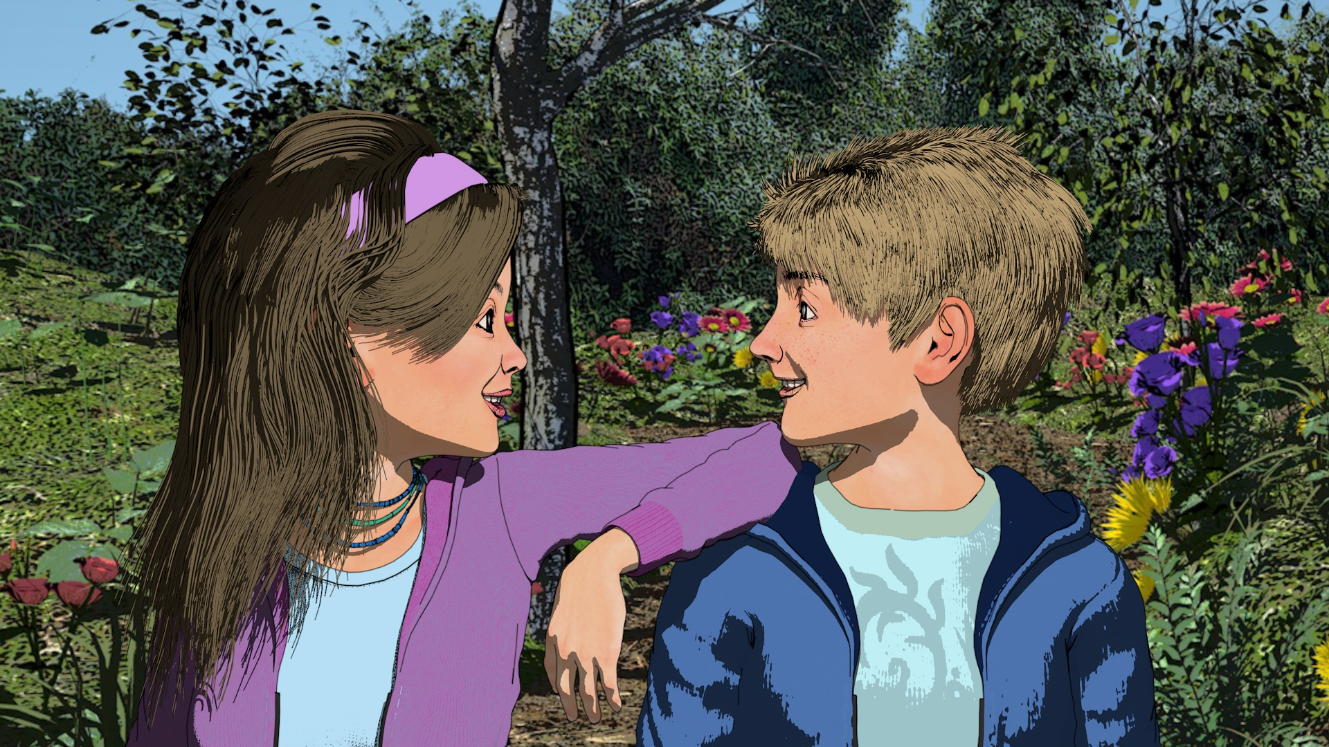 Outdoor scenes, which brighten when the boys are taught that girls and women are friends, mothers and sisters, were modeled from scratch in Cinema 4D Interior scenes were a mix of custom work and models purchased online.