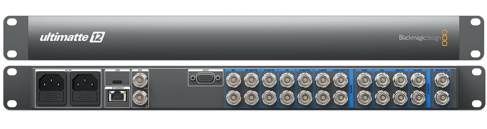 Blackmagic Design Ultimatte 12 front and rear view