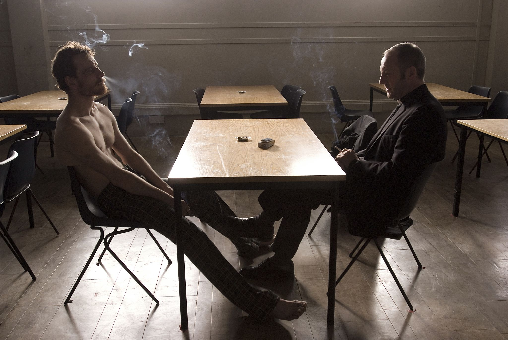 Michael Fassbender and Liam Cunningham in <i>Hunger</i>