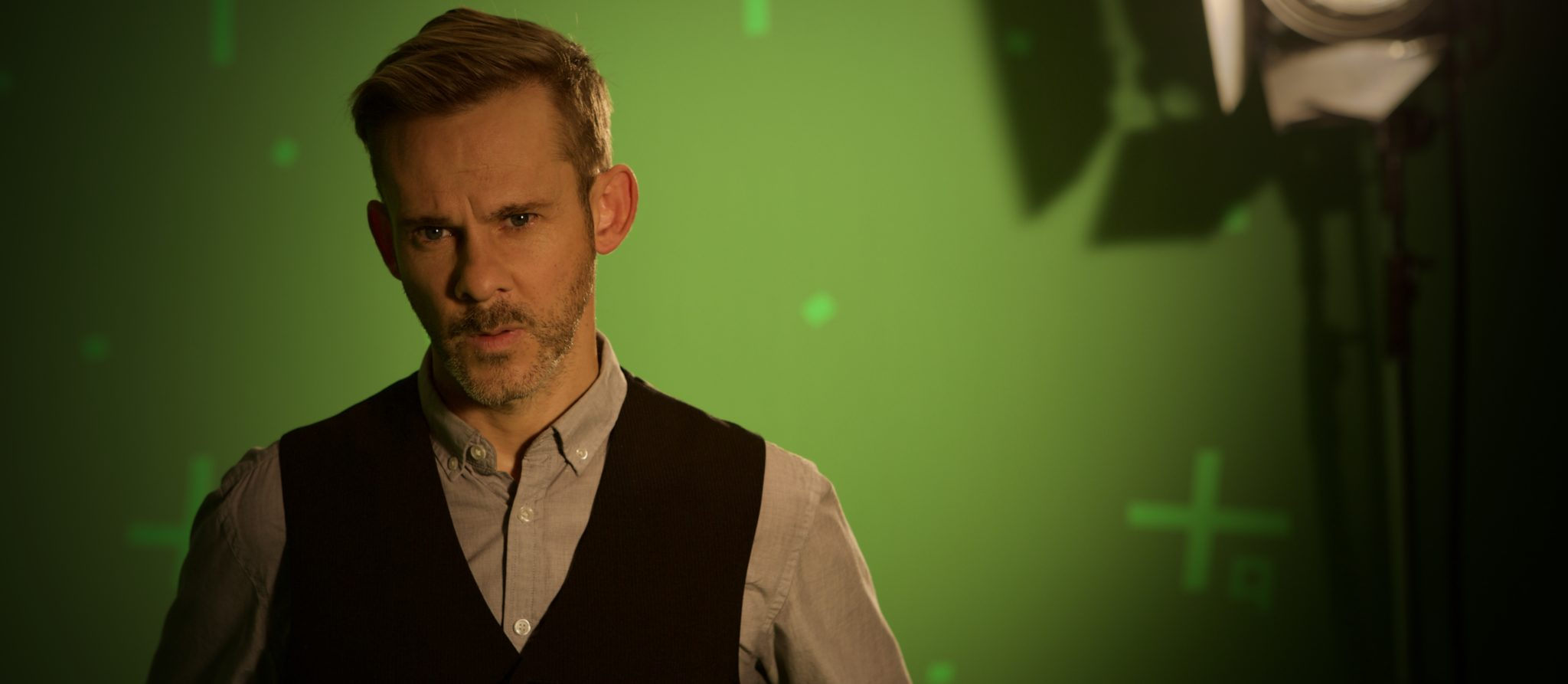 Dominic Monaghan on green screen