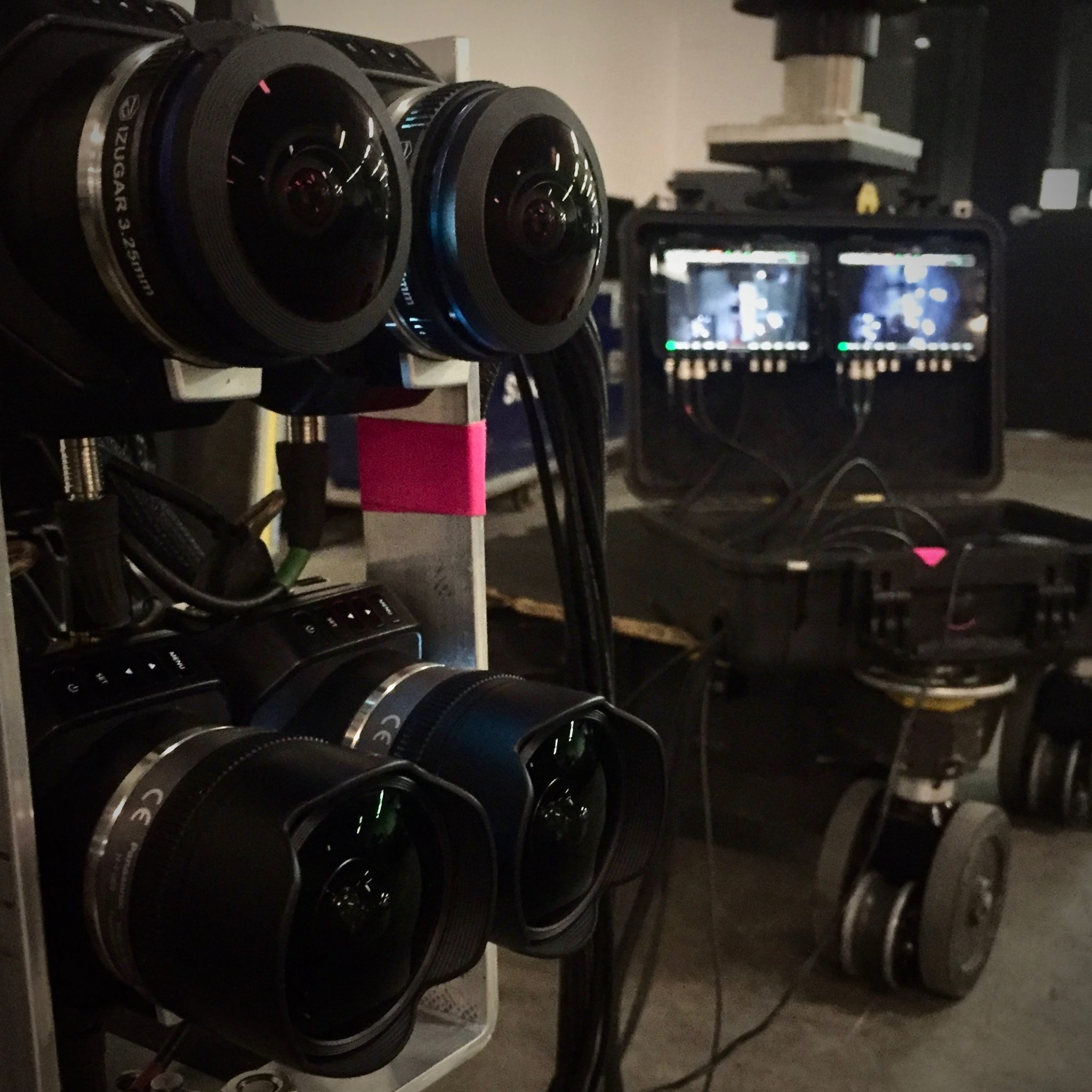 Stereoscopic cameras on set