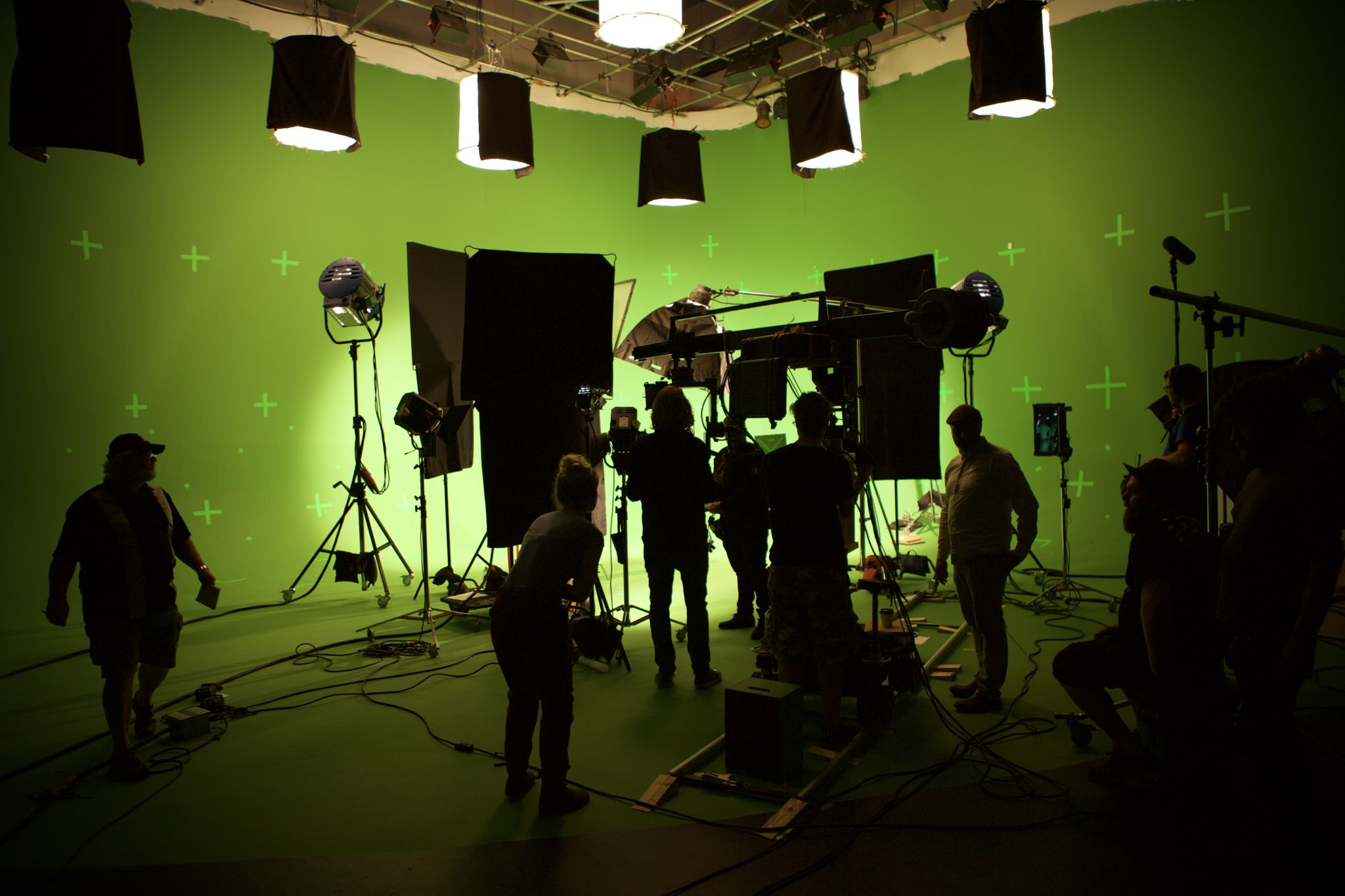 Shooting on a green screen set