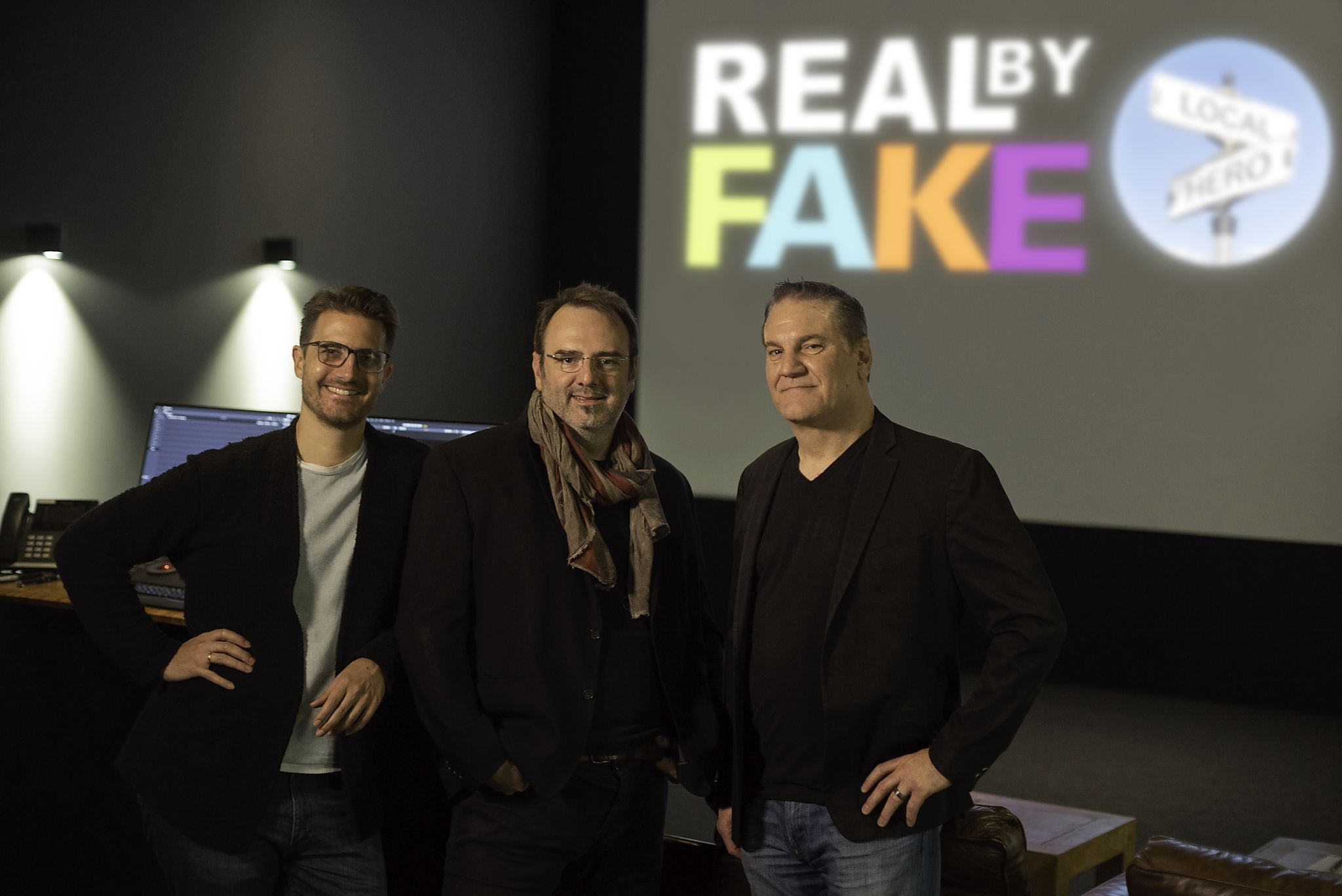 Local Hero founder and Head of Imaging Leandro Marini, Real by Fake President Marc Côté and Local Hero CEO Steve Bannerman