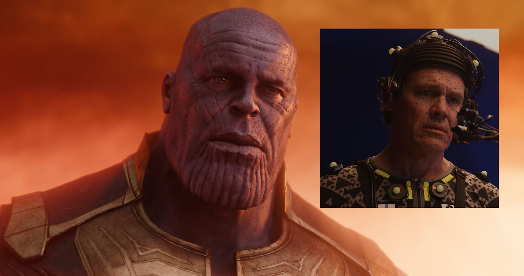 Thanos and Josh Brolin in performance capture rig for Avengers: Infinity War
