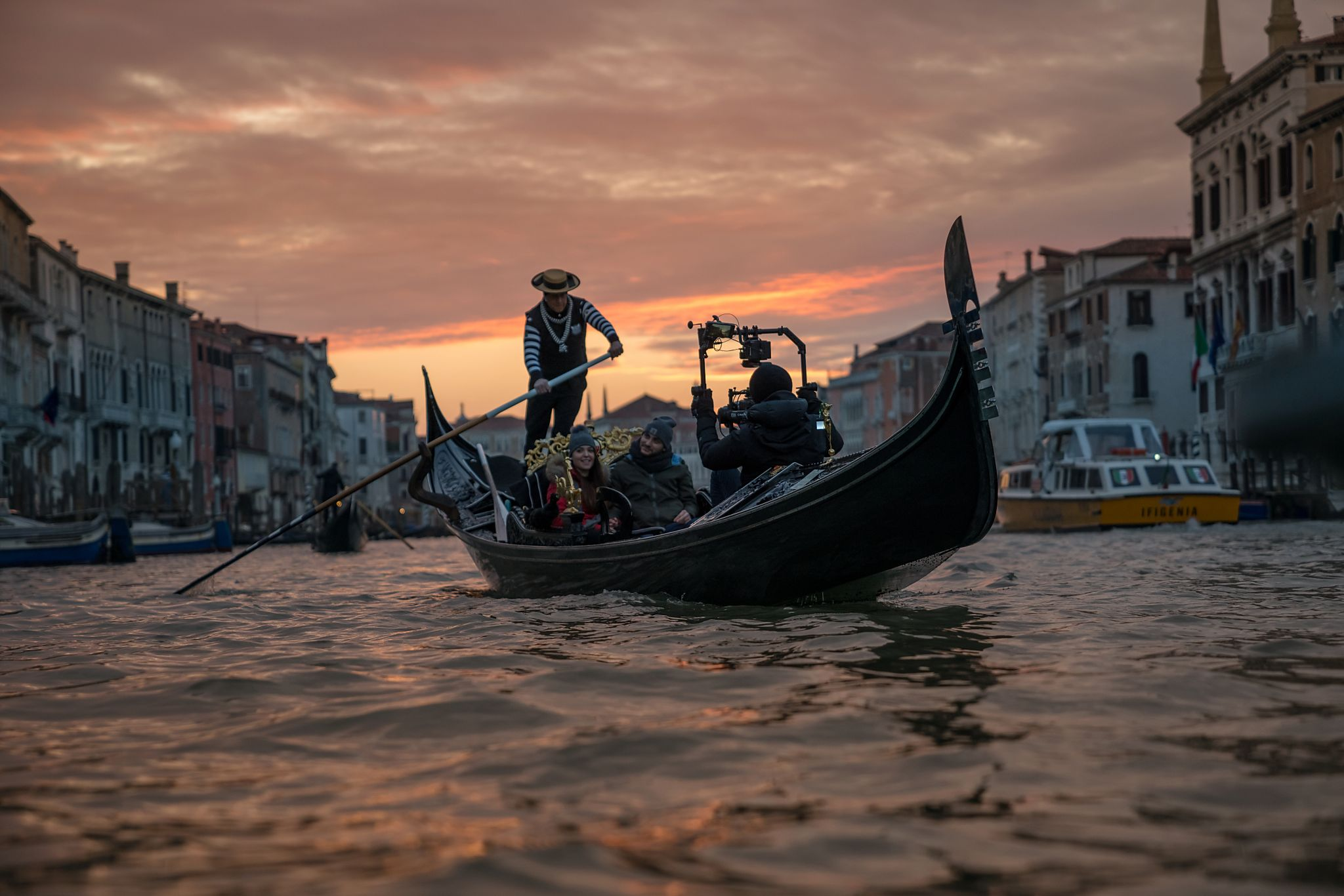 Shooting on a gondola at sunset