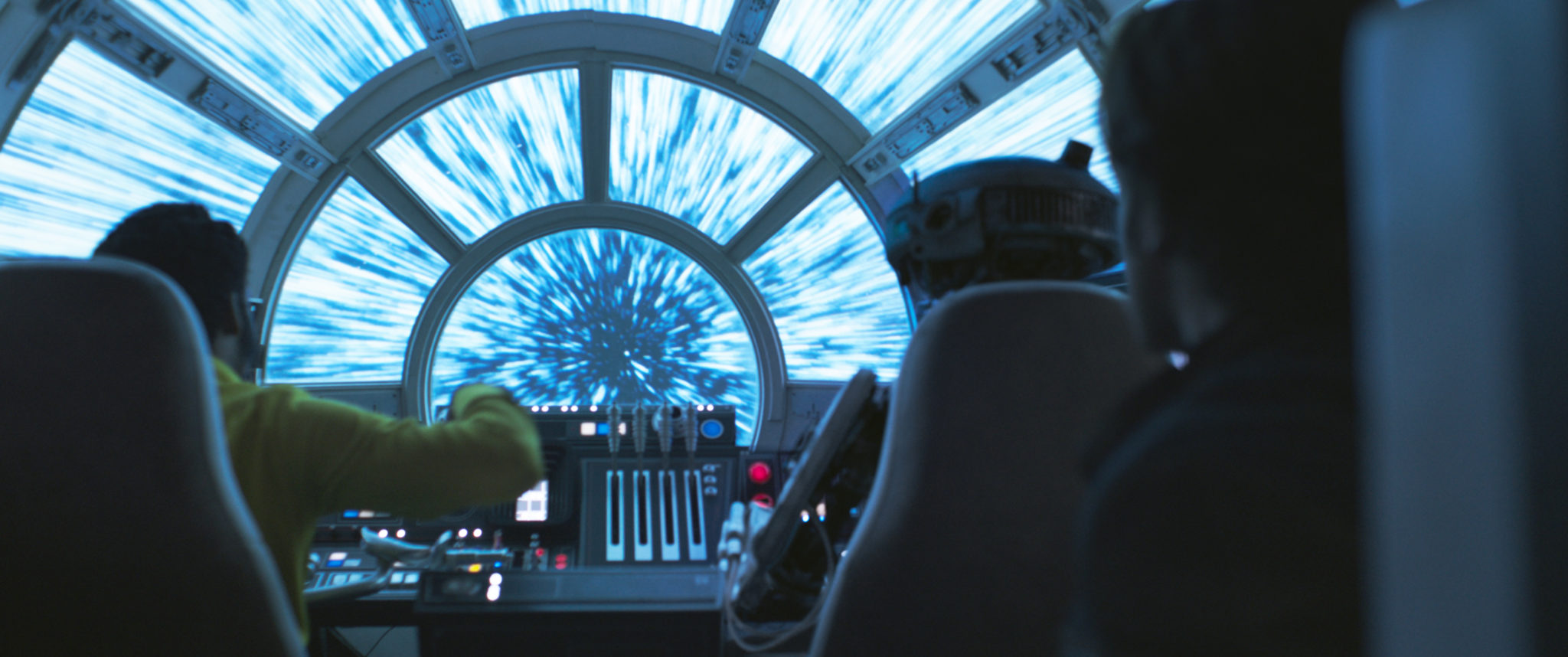 The Millennium Falcon jumps into hyperspace