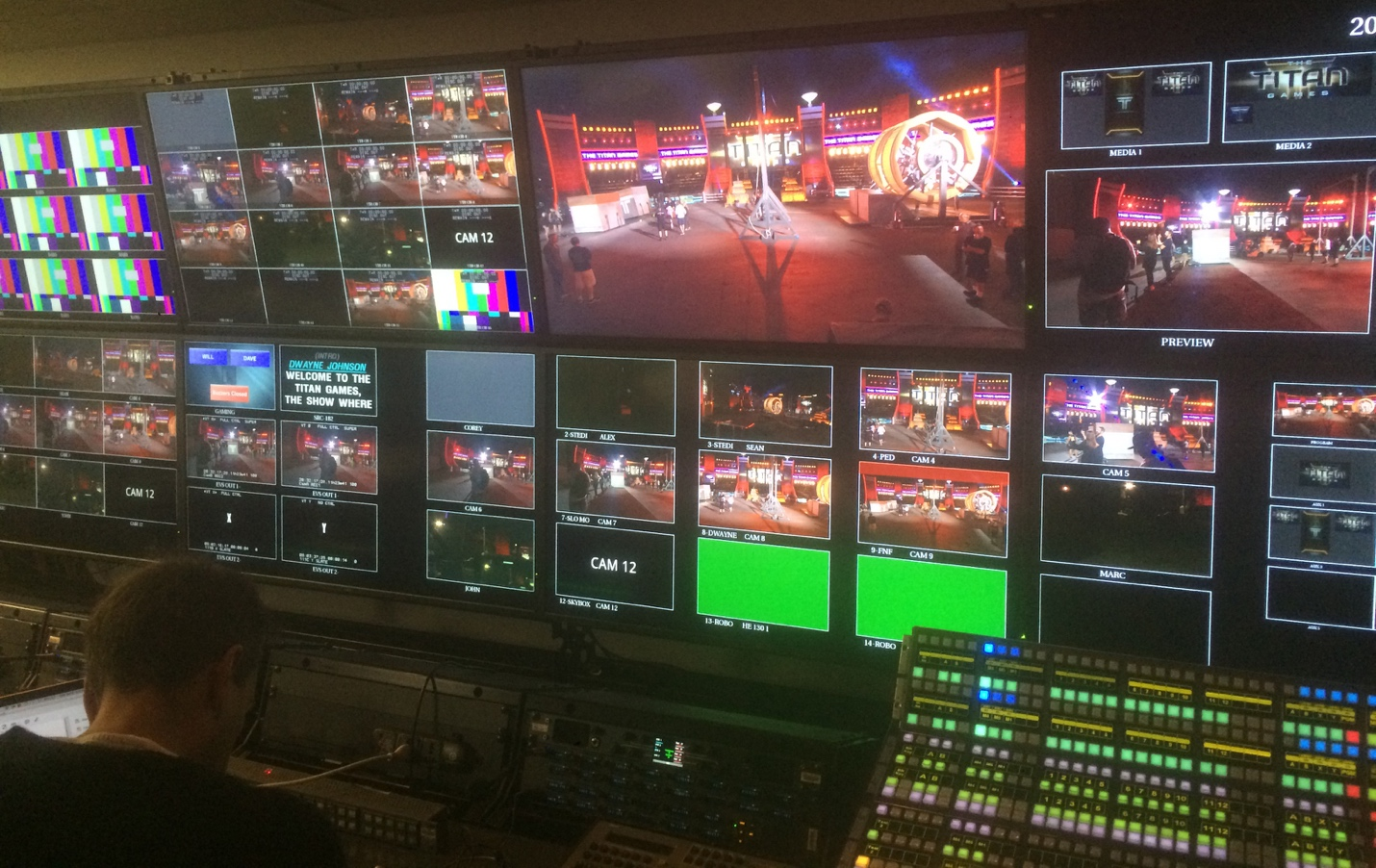 Inside the director's truck