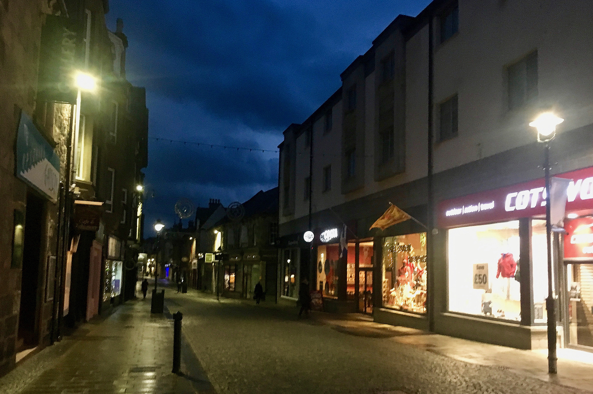 Main Street, Fort William, Scotland, at dusk.