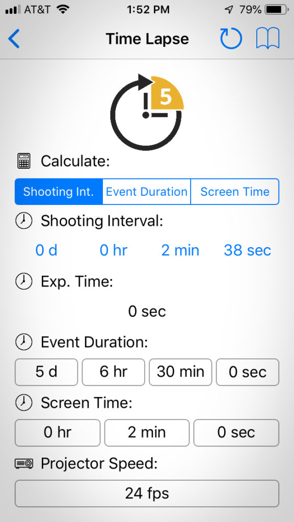 Screenshot: Time-lapse calculator