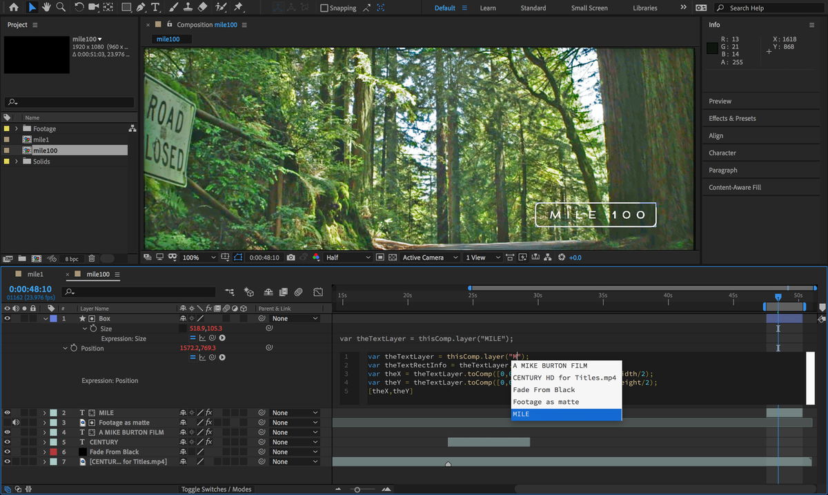 After Effects CC Expressions Editor