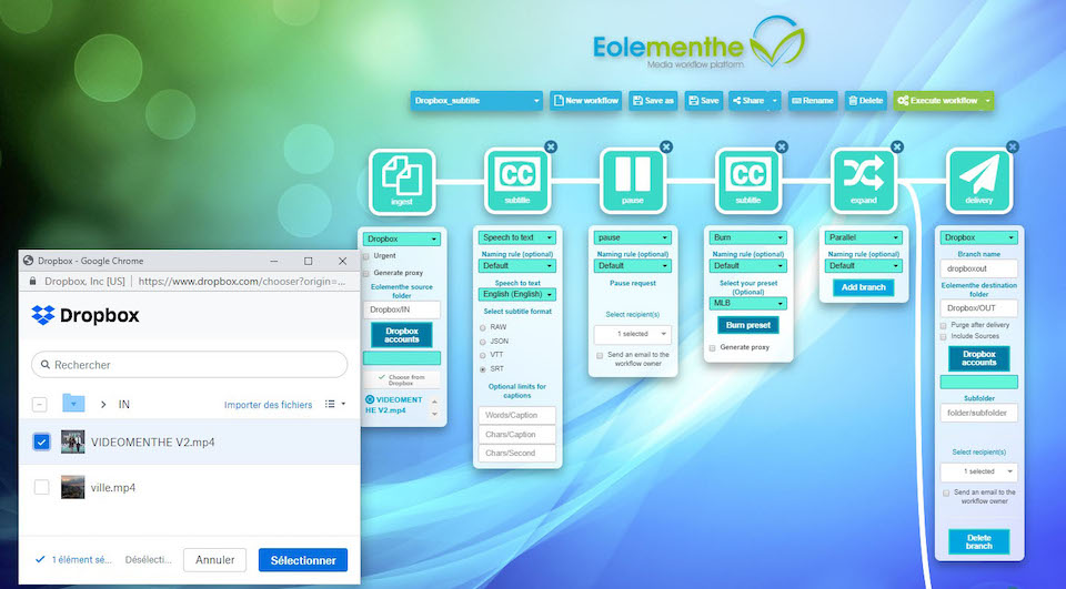 Screenshot of Videomenthe's Eolementhe integration