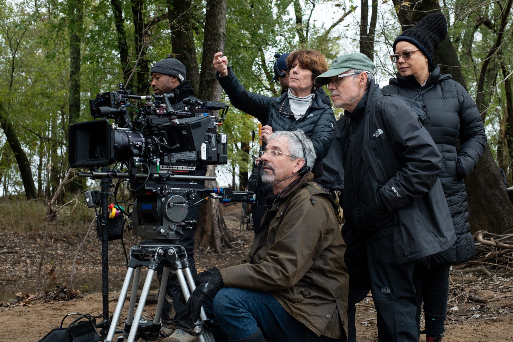 John Toll and others behind the camera while shooting <i>Harriet</i>.