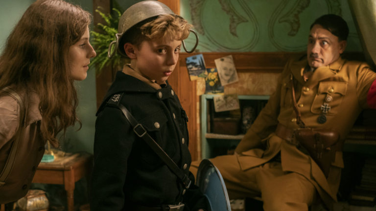 Thomasin McKenzie, Roman Griffin Davis and Taika Waititi in Jojo Rabbit.