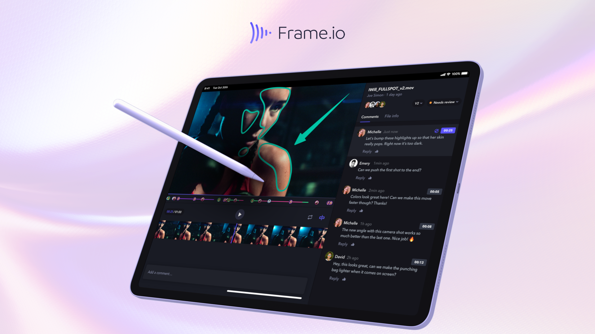 Frame.io for iPad review page